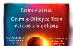 Orum e Olimpo: dois reinos em eclipse - teatro musical às 16 hs na Sec. Munic. de Turismo. 05 e 8 fev.