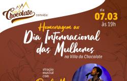 Dia Internacional das Mulheres na Villa dos Chocolates com show de Paulo Monarco às 19 hs
