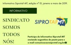 Informativo Siprotaf,  Edição nº 01, Janeiro a Maio de 2019