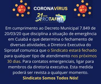 Siprotaf informa sobre suspensão de atendimento presencial no Sindicato