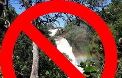 A Cachoeira da Fumaça, cartão-postal de Jaciara está interditado por prazo indeterminado, impactando diretamente o turismo