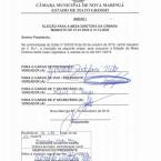 Chapa única define presidente da Câmara com todos os votos favoráveis em Nova Maringá