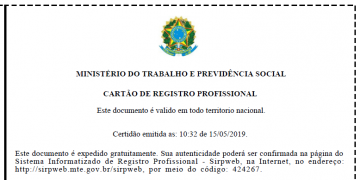 Exemplo de Registro Profissional