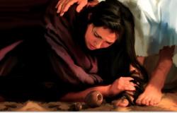 Maria unge com unguento os pés de Jesus Mt.26:6 e Jo 12,1-11