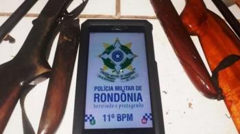 Dois homens são presos com duas armas de fogo e munições em Seringueiras, durante trabalho em conjunto da PM e Funai