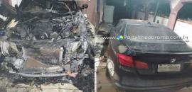 Veículo BMW pega fogo na garagem e quase causa incêndio em residência
