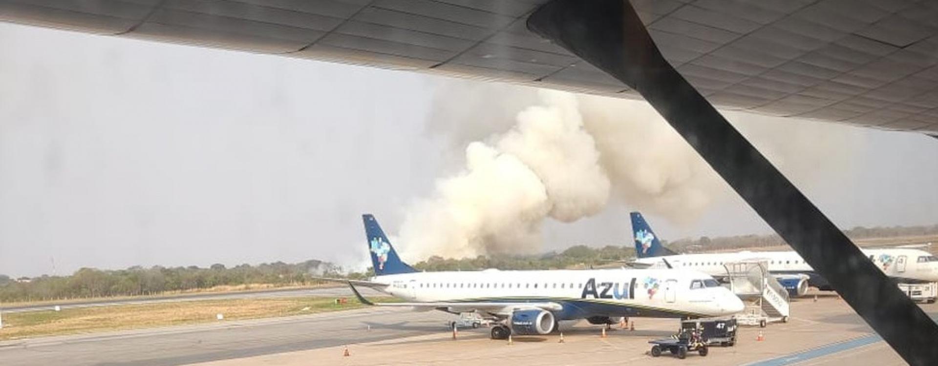 Incêndio atinge vegetação no Aeroporto Marechal Rondon em Várzea Grande (MT)