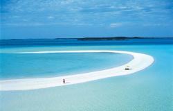 Banco de areia de 3,2 km se estende pelo mar em ilha de luxo no Caribe
