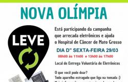 Campanha para arrecadar lixo eletrônico em prol ao Hospital de Câncer acontece nesta sexta em Nova Olímpia