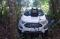 PM de Nova Olímpia recupera veículo furtado em Tangará. Ecosport estava escondido em um matagal