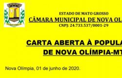 CÂMARA DE VEREADORES - CARTA ABERTA À POPULAÇÃO DE NOVA OLÍMPIA-MT