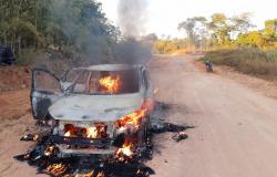 PM impede furto a banco em MT e prende suspeito incendiando carro para fugir