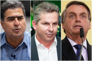O prefeito de Cuiabá, Emanuel Pinheiro; o governador Mauro Mendes; e o presidente Jair Bolsonaro