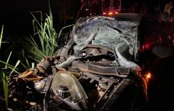 Carro com mulher grávida bate em 'carretinha' sem sinalização na rodovia, sai da pista e fica destruído