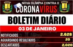 Nova Olímpia - Boletim Covid-19 do dia 03/01