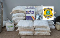 PM prende suspeitos com meia tonelada de defensivos agrícolas e R$ 13 mil