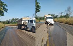 Batida de caminhão provoca vazamento de óleo na Serra Tapirapuã