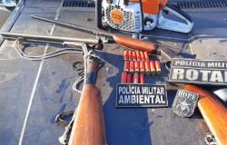 Policiais prendem proprietário de área rural por desmate e posse ilegal de arma
