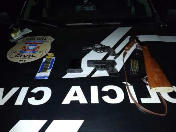 Quatro pessoas são presas e três armas de fogo apreendidas em Mato Grosso