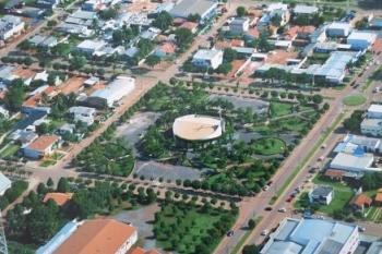 Vista aérea da região central de Sapezal