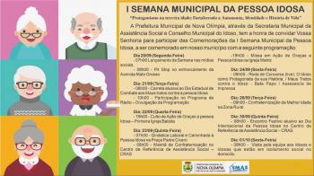 ASSISTÊNCIA SOCIAL LANÇA A I SEMANA MUNICIPAL DA PESSOA IDOSA EM NOVA OLÍMPIA