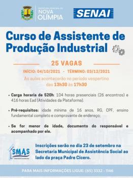 Curso de Assistente de Produção Industrial, em parceria com o SENAI Barra do Bugres e Prefeitura de Nova Olímpia