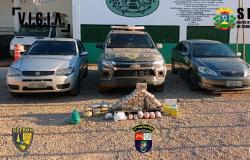Gefron apreende 70 kg de entorpecentes e recupera veículos roubados