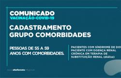 Prefeitura abre cadastro de vacinação contra à COVID-19 para pessoas de 55 a 59 anos com comorbidades.