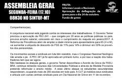 PANFLETO CONVOCANDO ASSEMBLEIA GERAL DO DIA 17.10 - PAUTA GREVE