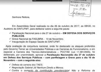 Ofício Paralisação dia 27.10.17