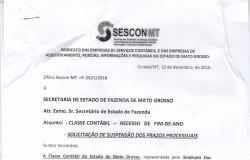 Classe Contábil solicita a SEFAZ/MT suspensão dos prazos processuais de fim de ano