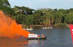 Grupo faz protesto e pede a preservação do Pantanal em competição de pesca em MT