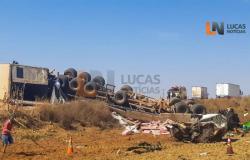 Acidente entre caminhão e carreta mata casal em Lucas do Rio Verde