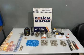 Droga apreendida com o grupo alvo da intervenção policial em Várzea Grande — Foto: Polícia Militar de Várzea Grande/Divulgação