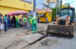 Secretaria realiza reparo emergencial no cruzamento das avenidas Isaac Póvoas e Prainha