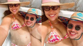 Vivian Amorim exibe barriga de gravidez: 'nossa criancinha ainda no forno'