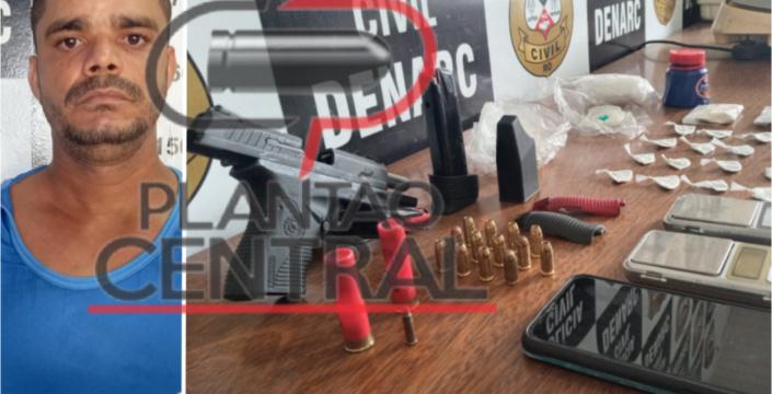 Operação Horus! Polícia Cívil prende traficante em flagrante com arma de fogo, drogas e dinheiro