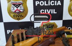 Polícia Cívil cumpre mandado de busca e apreensão e apreende armas, munições, droga e prende suspeito de homicídio