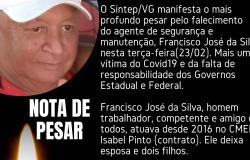 NOTA DE PESAR:  Sintep/VG lamenta mais uma vítima do COVID19