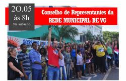 Direção do Sintep VG convoca Conselho de Representantes da Rede Municipal no dia 20