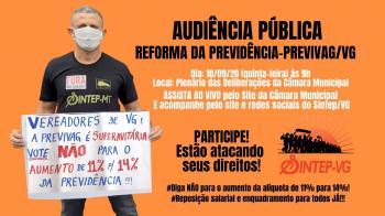 Câmara de Vereadores realiza  Audiência Pública sobre a Reforma da Previdência de VG