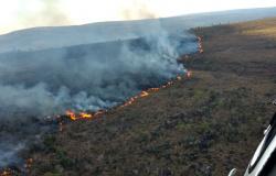 Avião e helicóptero combatem incêndio em Parque Estadual há quatro dias