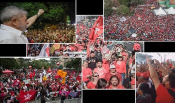 Milhares de trabalhadores do Brasil e de países vizinhos se uniram à manifestações sob a bandeira das centrais sindicais em defesa da liberdade de Lula ( Fotos Ricardo Stuckert/Arq.Web)