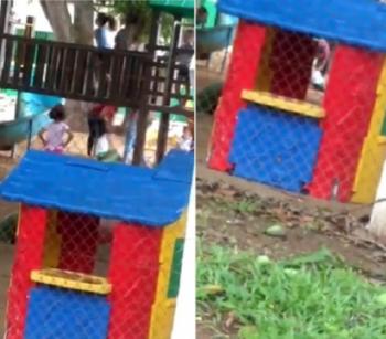 Vídeo flagra professora agredindo criança em parquinho de escola