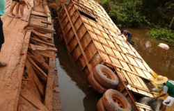 Vagão de carreta cai de ponte em rodovia e animais morrem afogados em MT; veja vídeo