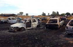 Fogo destrói 14 veículos após explosão em Sorriso