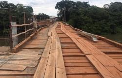 Sorriso: Sinfra interdita ponte de madeira no rio Teles Pires por risco de desabamento