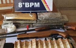 Alta Floresta: homem é detido e adolescente apreendida com armas, animal silvestre e cerca de 5,6 kg de maconha