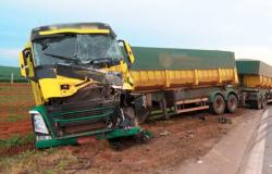 Carretas se envolvem em colisão na BR-163 em Nova Mutum