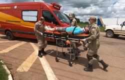 Alta Floresta: Motociclista sofre fratura na perna após acidente no trevo em frente ao batalhão